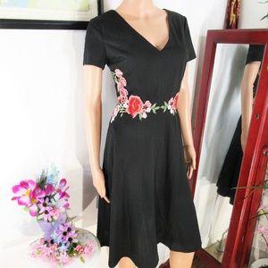 NWT Sangria Black Rose Embellished Fit n Flare
